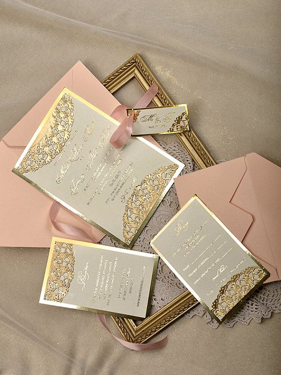 Custom listing 20 Gold and Peach Wedding by forlovepolkadots