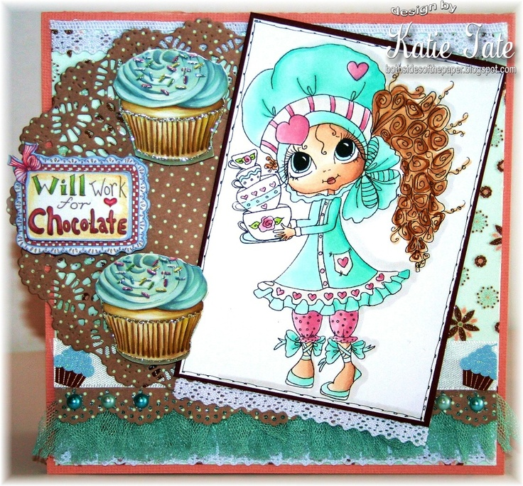 Both Sides of the Paper: Will Work for Chocolate - My Besties Challenge - Use Lace - Sherri Baldy Image Card