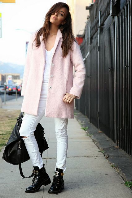 Ring My Bell, Balenciaga boots, fashionblogger, powder pink coat, light pink coat, pastel, fuzzy coat, streetstyle, pastel trend