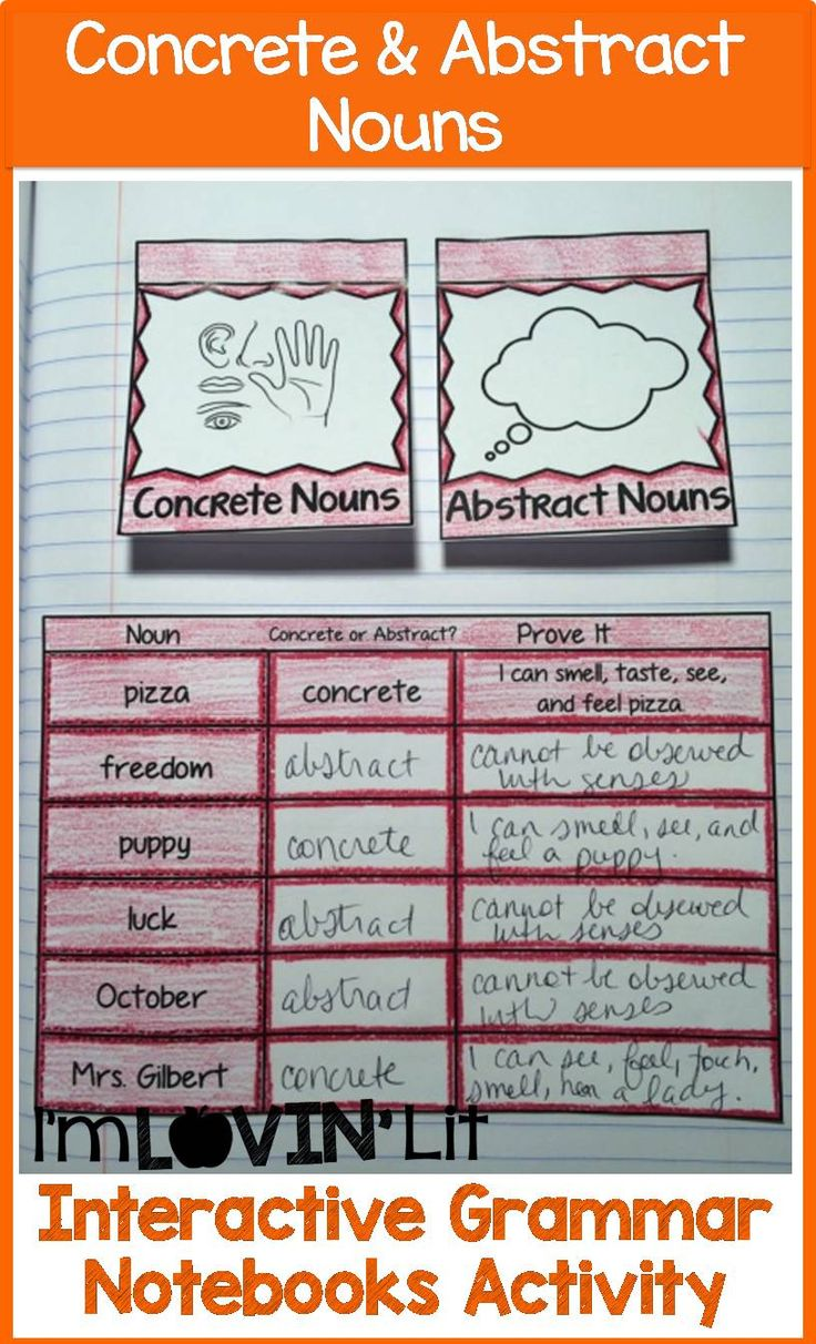 Worksheets Concrete And Abstract Nouns Worksheet best 25 abstract nouns ideas on pinterest grammar definition concrete interactive notebook activity foldable organizer lesson