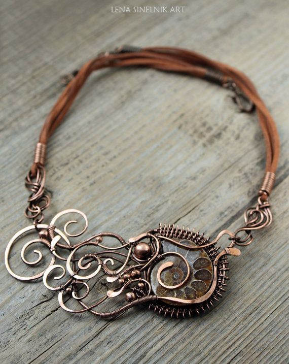 Copper necklace wirewrapped pendant handmade by LenaSinelnikArt