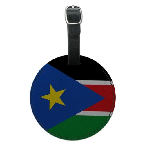 South Sudan National Country Flag Round Leather Luggage ID Bag Tag, Black