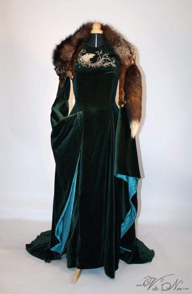 Sansa Stark Season 6 Direwolf Teal Velvet Cosplay Gown Game of Thrones Costume Dress and embroidery- by www.Volto-Nero.com