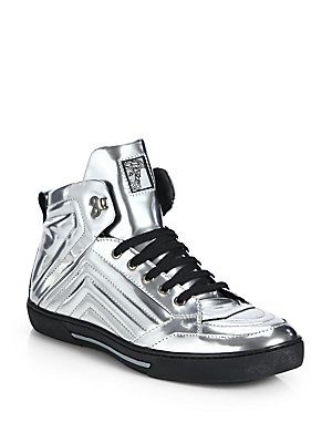 Versace Collection Metallic Leather High-Top Sneakers
