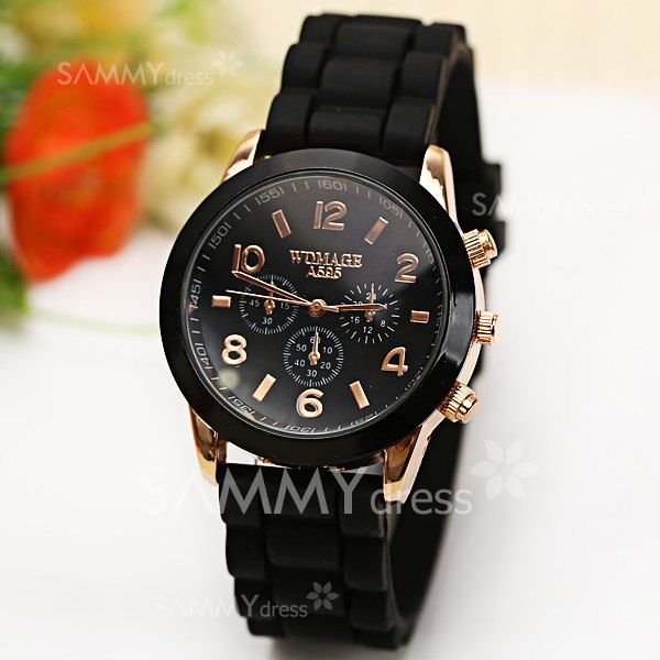 $3.69 WoMaGe Quartz Watch 6 Numbers and Rectangles Indicate Rubber Watch Band for Women - Black