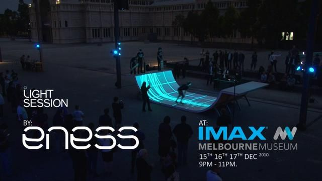 Tron Legacy Premiere an ENESS Light Session by ENESS. Old-time skaters ENESS jumped at the chance to bring skateboarding into the future by blending interactivity and high-tech mastery for the Tron Legacy premiere.