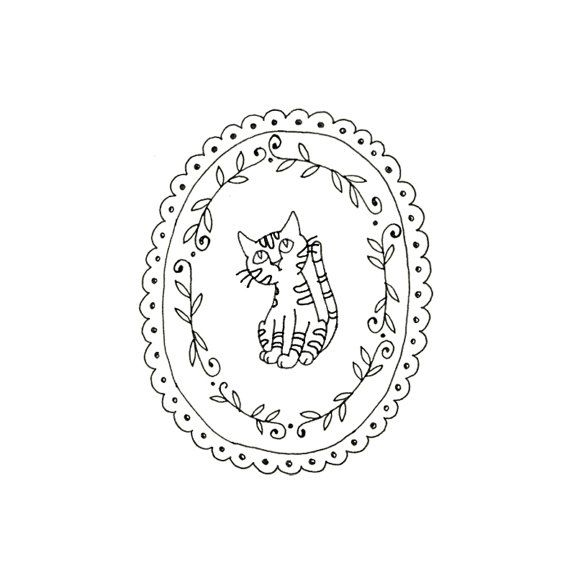 Cat Embroidery Pattern Kitty Digital by teenytinyhappythings
