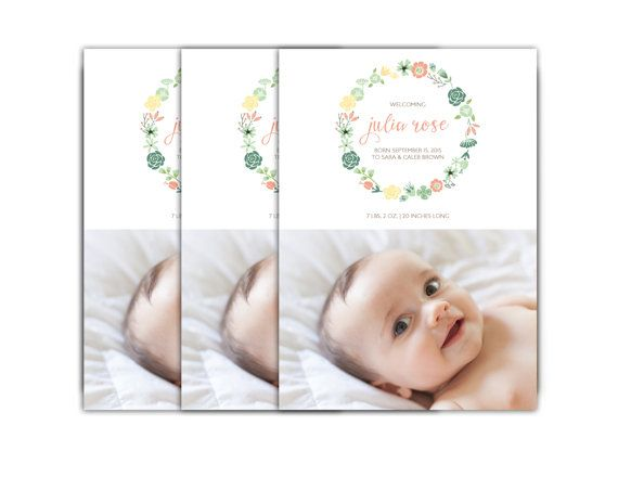 Baby Girl Birth Announcement // Floral Baby Announcement Card // 5x7 Printable…
