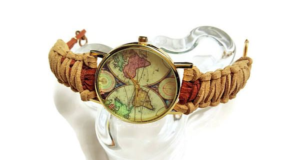 Unique brown woman's watch  Boho world watch  Map of the