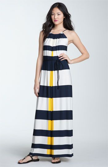 Maggy London Nautical Stripe Maxi Dress.  I own it and love it.  Except my strip isn't yellow, it's turquoise.  Love!