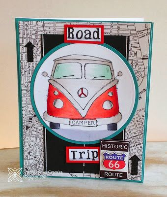 gorgeous card made by Laura using Handmade Harbour's campervan digital stamp