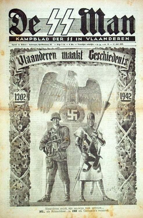 The SS Man...Propaganda poster depicting the ideal that the SS of the Third Reich were a modern recreation of Germany's Ancient Teutonic Knights..the future of the German race and people.