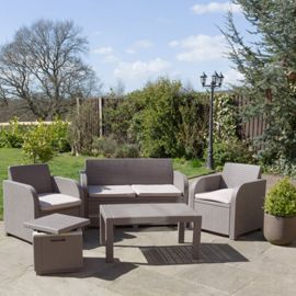 buy allibert carolina garden set with ice cube table seats cappuccino from our rattan garden furniture range tesco