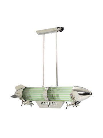Art Deco 'Zeppelin' Ceiling Lamp