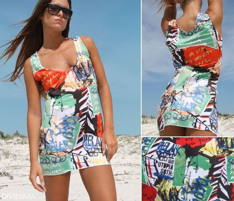 Designer beach dress of colored comics fabric.  For more Bikini's, Lingerie & beach wear imported from Italy! Visit us at http://onlineclothingshop.co.za