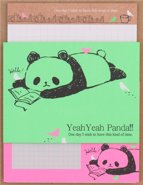 Cute Mini Neon Pink Green Panda Letter Set By Q Lia From Japan