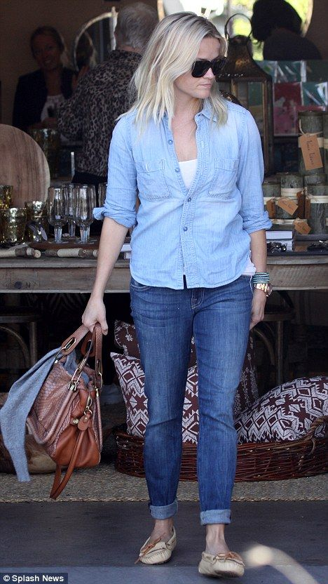 reese witherspoon....love her style!!! Jeans rolled with button up shirt!
