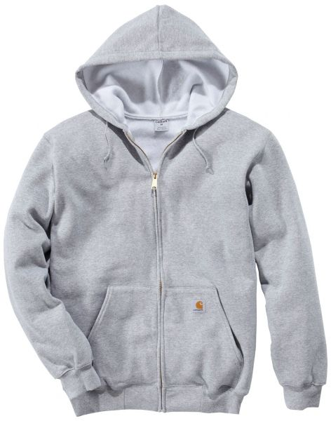 Lækker trøje til arbejde og fritid! Carhartt Midweight Hooded Sweatshirt m. lynlås og hætte, grå melange (K122-HGY) - Overdele - BILLIG-ARBEJDSTØJ.DK
