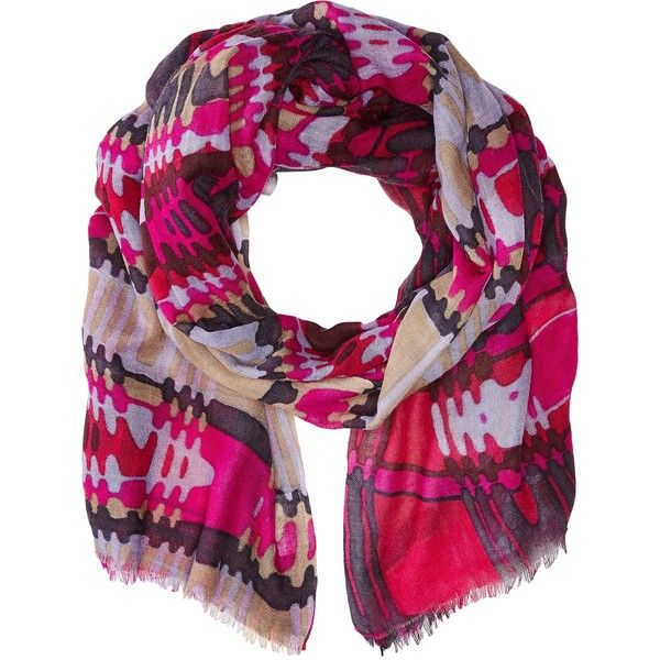 Bindya Lulla by Bindya Stole Pyramid Scarf (Fuchsia) Scarves (200 DKK) ❤ liked on Polyvore featuring accessories, scarves, pink, patterned scarves, print scarves, bindya, wrap shawl and pink scarves