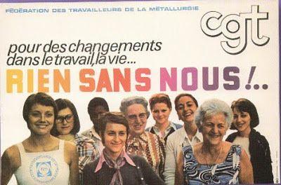 Affiche de la CGT, Pour des changements, dans le travail, la vie... rien sans nous!, affiche de la fédération des travailleurs de la métallurgie, 1975
