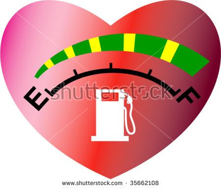 Fuel or energy meter gauge icon or symbol showing empty to full levels with heart on background #fuelgauge #retro #illustration