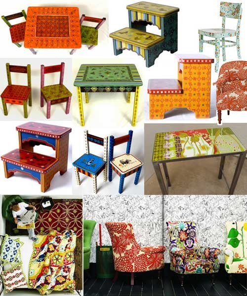 A variety of colorful furniture with folk art flavor.