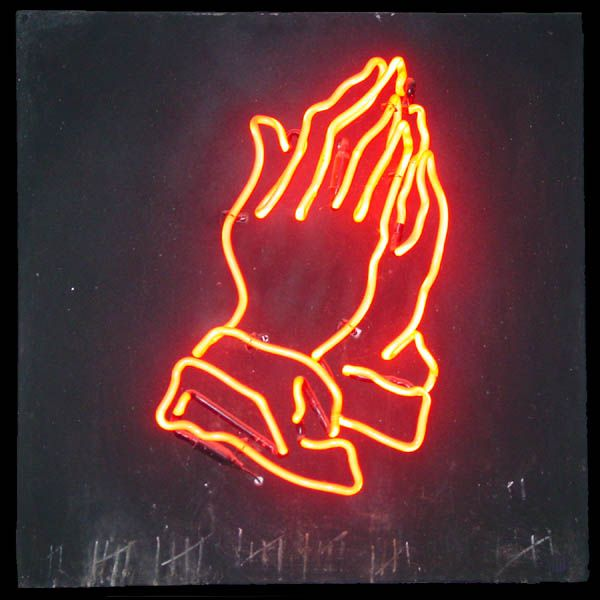 Neon Praying Hands, 1982 by artist Alison Ulman