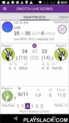 Cricitch T20 LIVE Cricket  Android App - playslack.com ,  cricitch - The most comprehensive cricket LIVE score app for Android devices from www.cricitch.com. Now delivering score Faster than Faster. A true companion for your TV / Streaming views.T20 WCup Live ScoresNow covering popular Twenty20 tournaments and international T20, ODI and Test Cricket matches. Ultra fast updates. Low bandwidth usage.It also supports LIVE score push via GCM. Enjoy Cricket!.Score posting to FacebookCricket apps…