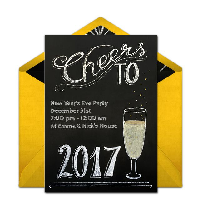 Free Chalkboard Cheers Invitations Celebrate New Years Party 2
