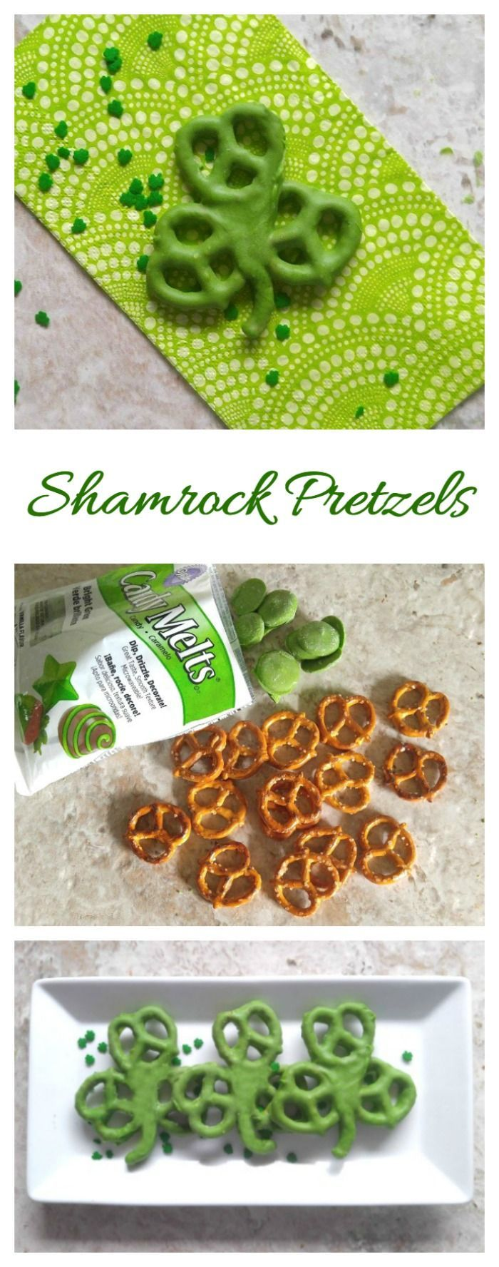 These Shamrock pretzels are a fun sweet and salty treat for St. Patrick's Day. They need only two ingredients! #stpatricksday #shamrock