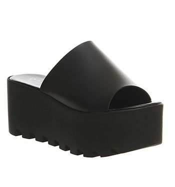 Office Wave Flatform Mule Black - Mid Heels