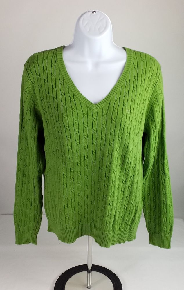 Izod Green Cable Knit Long Sleeve V Neck Pull Over Sweater Womens