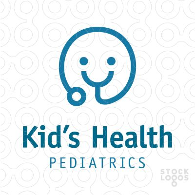 Minimalistic logo showing a stethoscope turning into a happy face.