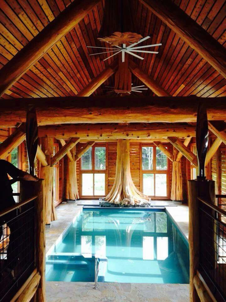 Log home indoor pool - Add acordion patio doors all around to completely open up the yard during the summer