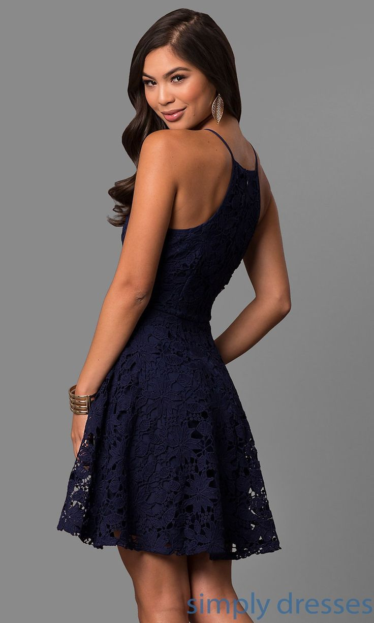 Shop short lace party dresses at Simply Dresses. Cheap semi-formal dresses under $100 with square necklines, spaghetti straps and a-line skirts.