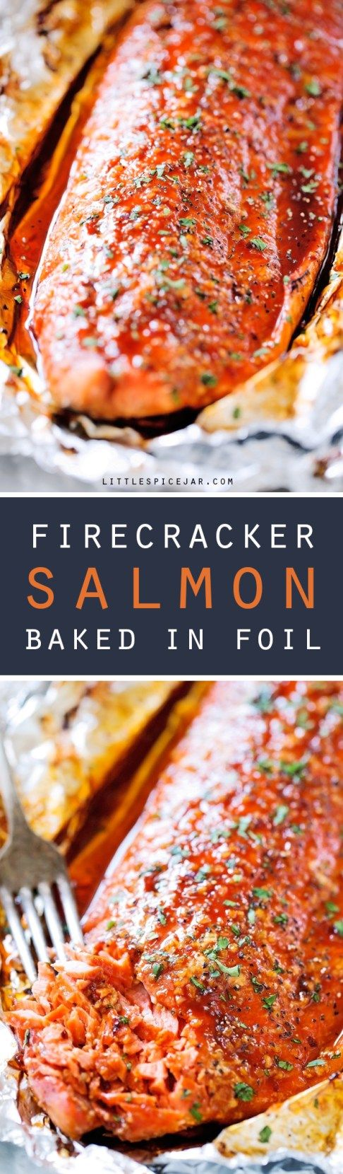 Firecracker Baked Salmon in Foil - An easy baked salmon recipe that takes just 30 minutes to make and is sure to be a crowd pleaser! #bakedsalmon #salmon #salmoninfoil | Littlespicejar.com