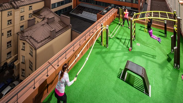 A rooftop gym at the GoGo City fitness club in Tampere, Finland
