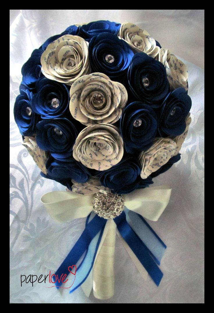 Beautiful paper wedding bouquets..personalized with bride/groom names and date of wedding. www.facebook.com/flowers.eb