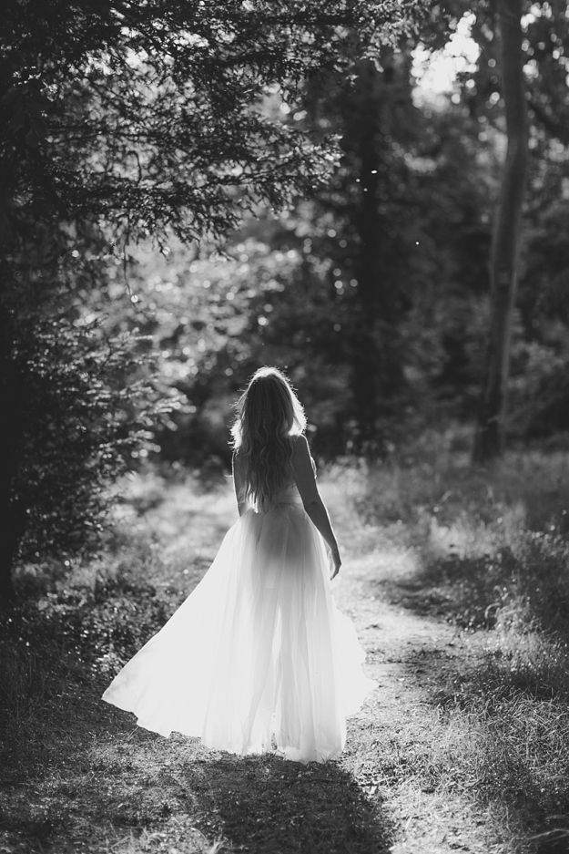 Femme, forêt, nature, libre