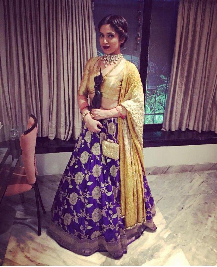New Actress Bhumi stunned with her traditional look carrying a banarasi silk lehenga by Manish Malhotra.