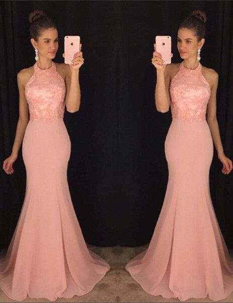 Halter Blush Pink Mermaid Evening Prom Dresses, 2017 Long Party Prom D – LoverBridal