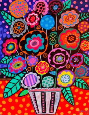 Mexican Folk Art Flowers | flowers, abstract, galler, folk art, mexican - Heather Galler