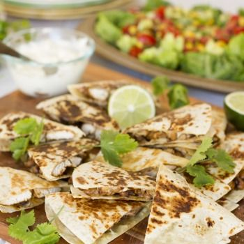 Chicken and Bean Quesadillas with Corn, Avocado and Tomato Salad