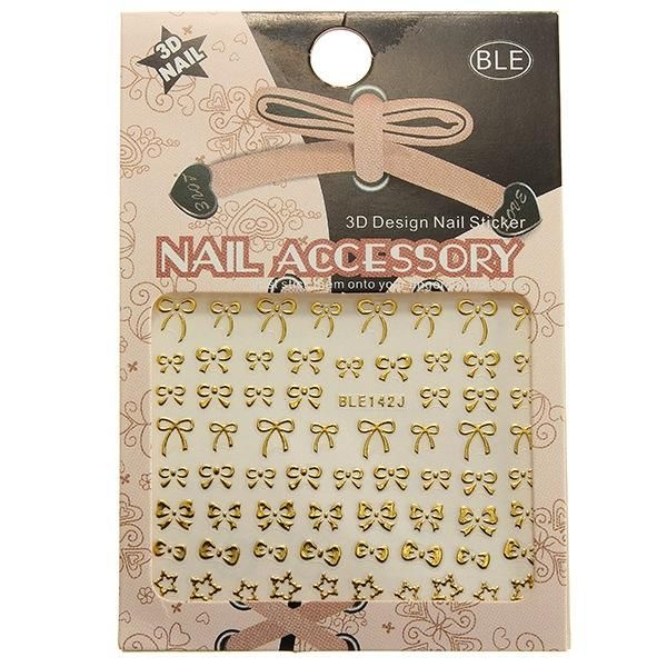 Wallmart.win 3D Golden Bowknot Star Nail Art Stickers Decals: Vendor: BG-US-Health-and-Beauty Type: Nail Art Price: 8.61 Features: The 3D…