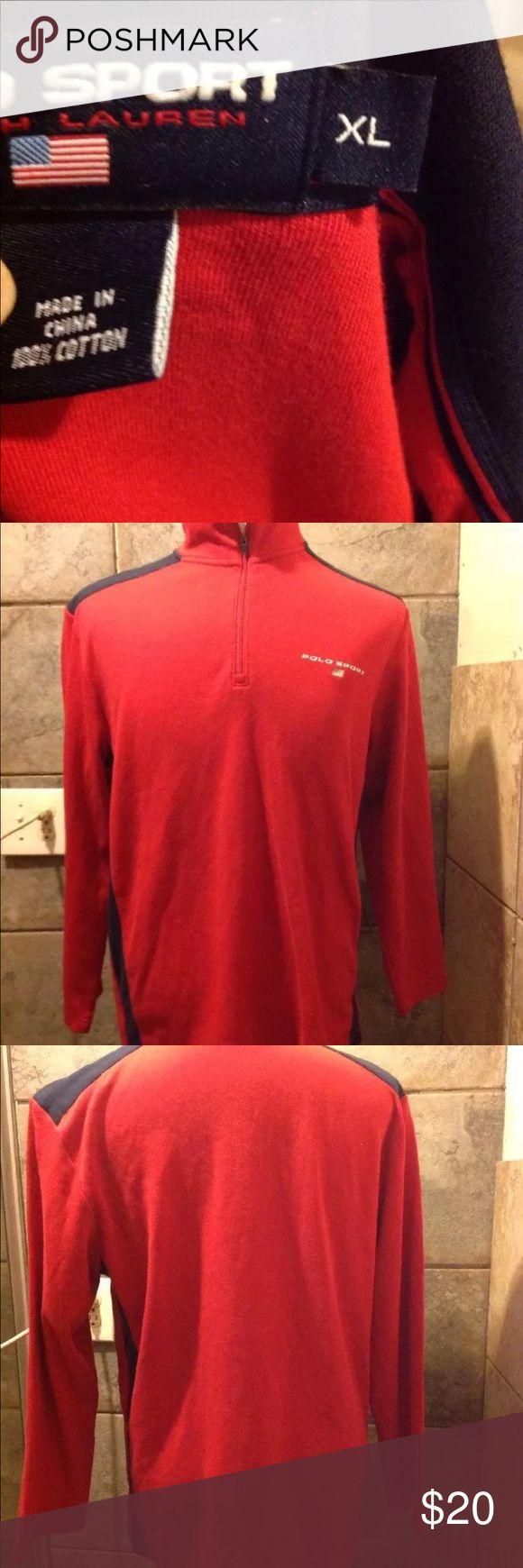 Raph Lauren polo sweater shirt red blue zip sleeve God condition, size xl long sleeve raph lauren sport Sweaters V-Neck