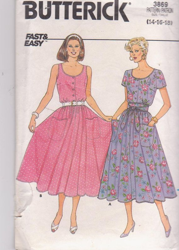 Vintage 1980s pattern for button front dress by beththebooklady, $8.99