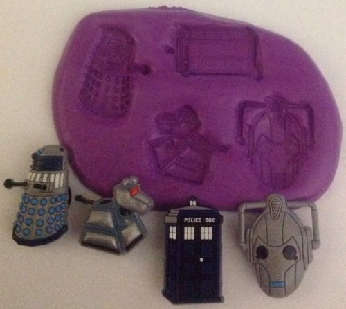 Dr Who Mixed Silicone Mould ( Cyber Man. Darlek.k9.tardis) Cupcake Topper.fimo