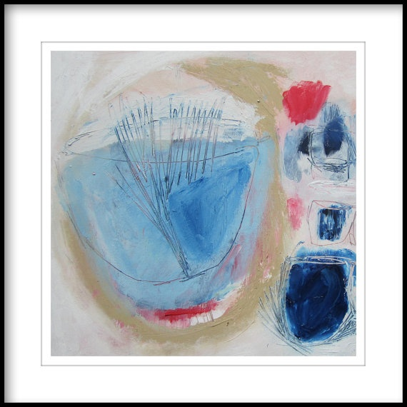 ORIGINAL OIL PAINTING abstract blue red beige by LolaDonoghue, $135.00