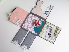 tutorial : mini album made from one sheet of 12x12 card stock and scor-pal (note: tutorial is in french)