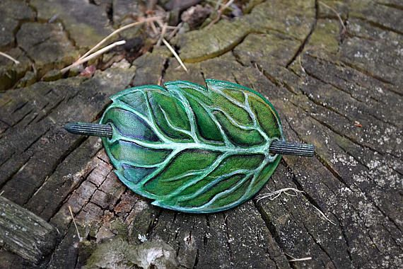 Green elven Leaf  Hand Tooled and hand painted Leather Hair